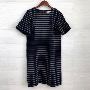 LOFT Navy Cream Stripe Short Flare Slv Dress